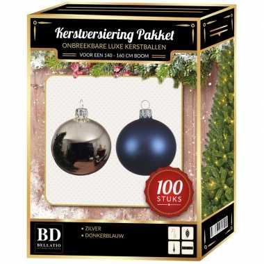 100 stuks kerstballen mix zilver-donkerblauw voor 150 cm boom