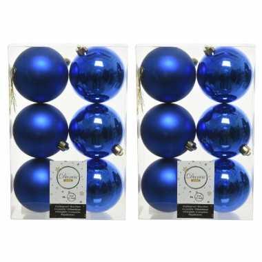 12x kobalt blauwe kerstballen 8 cm kunststof mat/glans