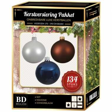 134 stuks kerstballen mix wit-bruin-donkerblauw voor 180 cm boom