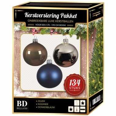 134 stuks kerstballen mix zilver-blauw-bruin voor 180 cm boom
