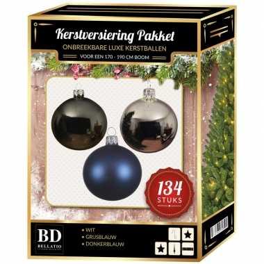 134 stuks kerstballen mix zilver-grijs-blauw voor 180 cm boom