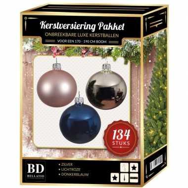 134 stuks kerstballen mix zilver-roze-blauw voor 180 cm boom
