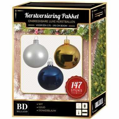 147 stuks kerstballen mix wit-goud-donkerblauw voor 180 cm boom