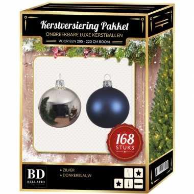 168 stuks kerstballen mix zilver-donkerblauw voor 210 cm boom