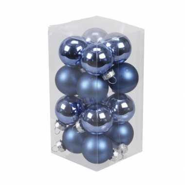 16x kobalt blauwe kleine glazen kerstballen 3,5 cm mat/glans