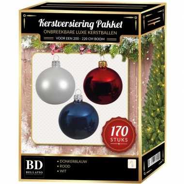 170 stuks kerstballen mix wit-donkerblauw-rood voor 210 cm boom