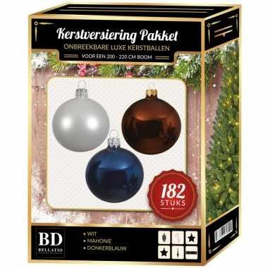 182 stuks kerstballen mix wit-bruin-donkerblauw voor 210 cm boom