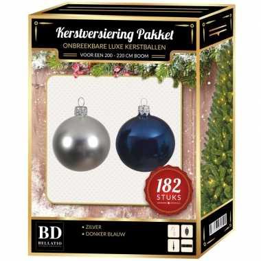 182 stuks kerstballen mix zilver-donkerblauw voor 210 cm boom