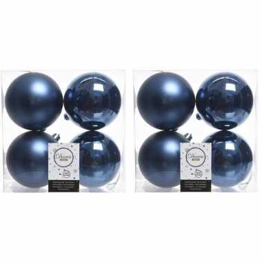 32x donkerblauwe kerstballen 10 cm kunststof mat/glans