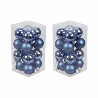 32x kobalt blauwe kleine glazen kerstballen 3,5 cm mat/glans