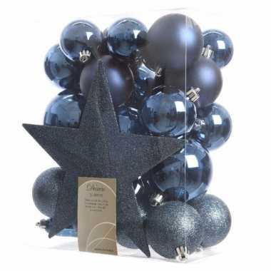 33x donkerblauwe kerstballen met ster piek 5-6-8 cm kunststof mi