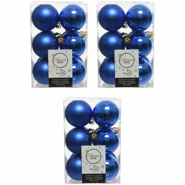 36x kobalt blauwe kerstballen 6 cm kunststof mat/glans