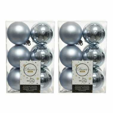 36x lichtblauwe kerstballen 6 cm kunststof mat/glans