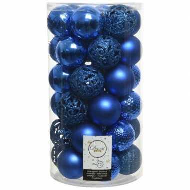 37x kobalt blauwe kerstballen 6 cm kunststof mix