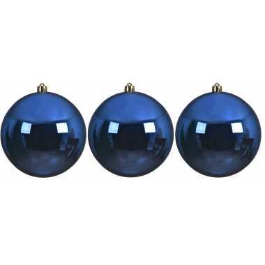 3x grote kobalt blauwe kerstballen van 14 cm glans van kunststof