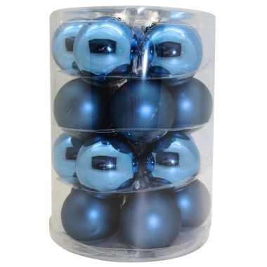40x blauwe glazen kerstballen 6 cm glans en mat