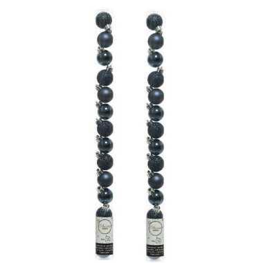 42x kleine donkerblauwe kunststof kerstballen 3 cm glans/mat/glitter