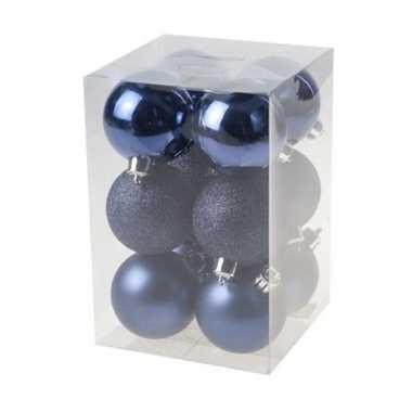 48x donkerblauwe kerstballen 6 cm kunststof mat/glans