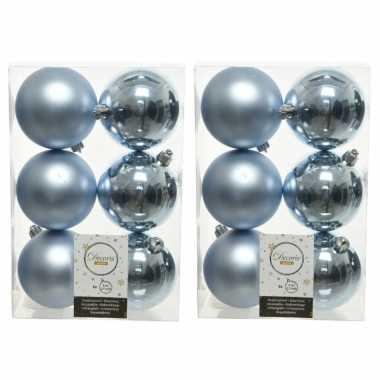 48x lichtblauwe kerstballen 8 cm kunststof mat/glans