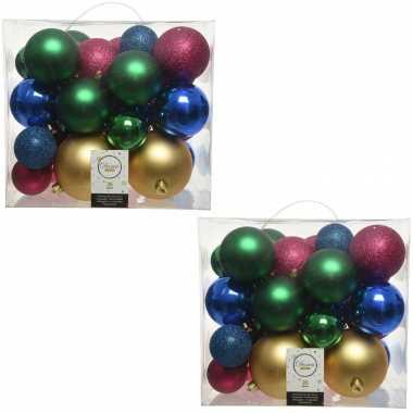 52x kunststof gekleurde mix kerstballen 6, 8, 10 cm
