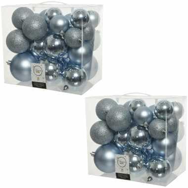 52x lichtblauwe kerstballen 6-8-10 cm kunststof mix