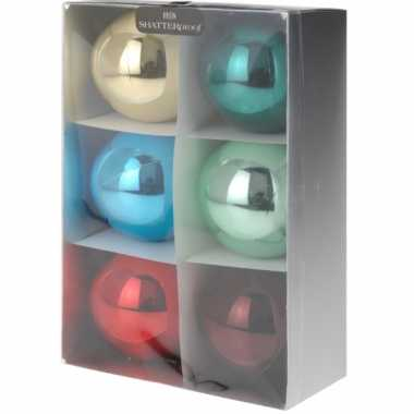 6 kerstballen bonte kleuren