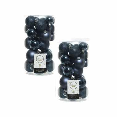 60x donkerblauwe kerstballen 4 - 5 - 6 cm kunststof