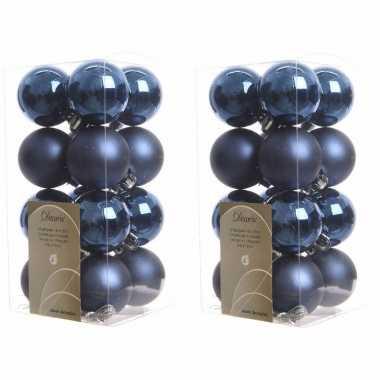 64x donkerblauwe kerstballen 4 cm kunststof mat/glans