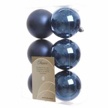 6x Donkerblauwe Kerstballen 8 Cm Kunststof Mat Glans Blauwe