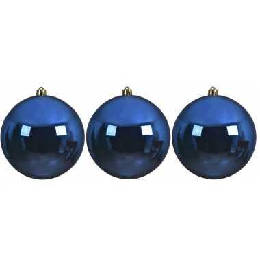 6x grote kobalt blauwe kerstballen van 14 cm glans van kunststof