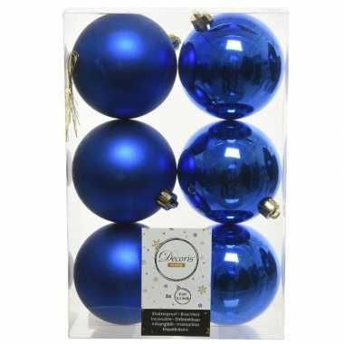 6x kobalt blauwe kerstballen 8 cm kunststof mat/glans