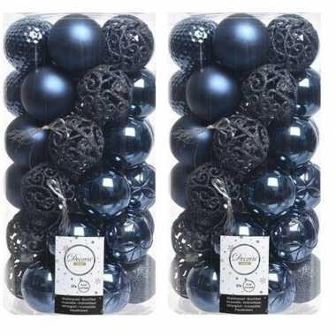 74x donkerblauwe kerstballen 6 cm kunststof mix