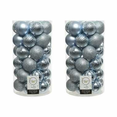 74x lichtblauwe kerstballen 6 cm kunststof mix