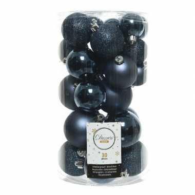 90x donkerblauwe kerstballen 4 - 5 - 6 cm kunststof
