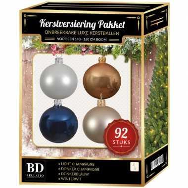 92 stuks kerstballen mix champagne-wit-blauw voor 150 cm boom