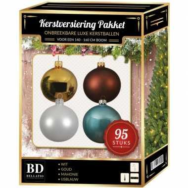95 st. kerstballen mix goud-wit-ijsblauw-bruin voor 150 cm boom