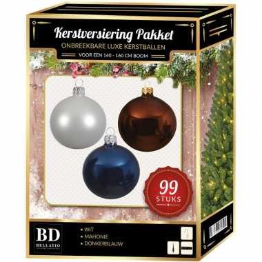99 stuks kerstballen mix wit-bruin-donkerblauw voor 150 cm boom