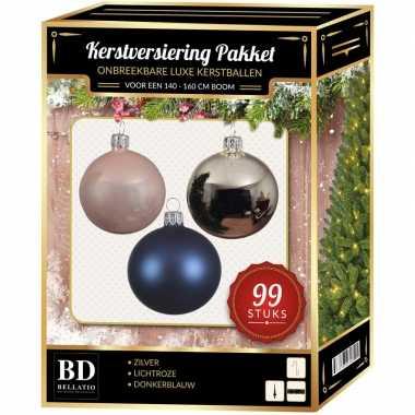 99 stuks kerstballen mix zilver-lichtroze-blauw voor 150 cm boom