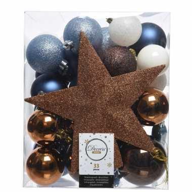 Blauw/bruin/wit kerstballen pakket met piek 33 stuks