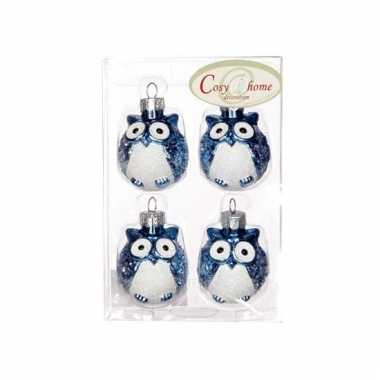 Blauwe uilen kerstballen 4 stuks
