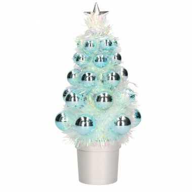 Complete mini kunst kerstboompje / kunstboompje blauw met kerstballen 20 cm