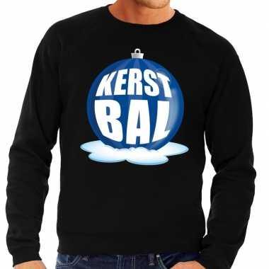Foute kersttrui kerstbal blauw op zwarte sweater voor heren