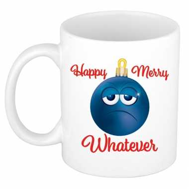 Happy merry whatever kerstcadeau kerstmok grumpy blauwe kerstbal 300 ml