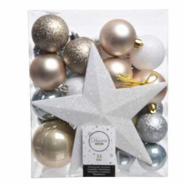 Ijsblauw Goud Wit Kerstballen Pakket Met Piek 33 Stuks Blauwe