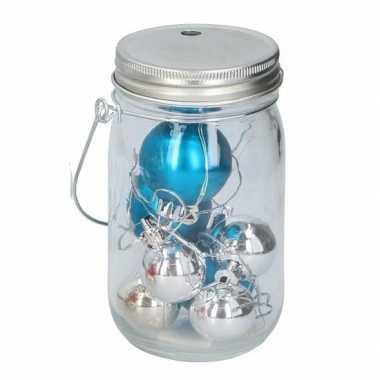 Foute Kersttrui Led.Kerst Potje Met Blauwe Ballen En 10 Led Lampjes Blauwe Kerstballen Nl