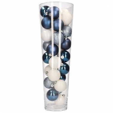 Kerst Woondecoratie Vaas Met Blauw Witte Kerstballen Blauwe
