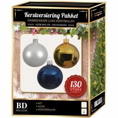 Kerstbal en piek set 130x goud-wit-blauw voor 180 cm boom