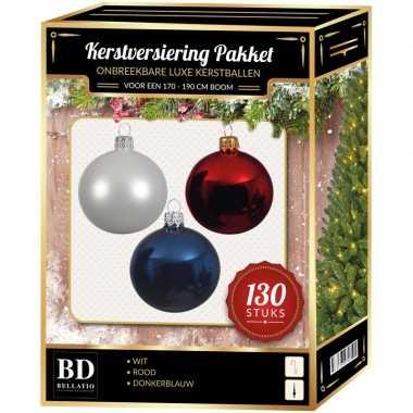 Kerstbal en piek set 130x wit-donkerblauw-rood voor 180 cm boom
