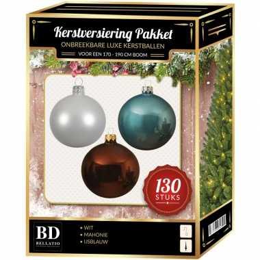 Kerstbal en piek set 130x wit-mahonie-blauw voor 180 cm boom