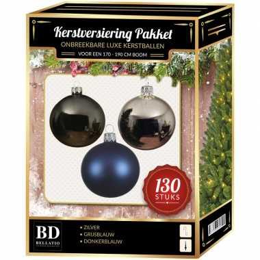 Kerstbal en piek set 130x zilver-grijsblauw-blauw voor 180 cm bo